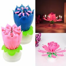 8 Candles Rotating Blossom Musical Lotus Flower Candle Birthday Cake Topper Gift