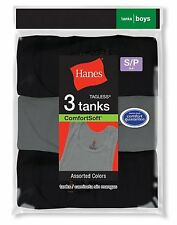 6 pack Hanes Boys Dyed Tanks in Black/Grey Heather #B392P3 sizes S-XL