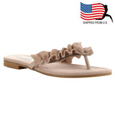 Chic Contemporary Women's Slip On Ruffled Thong Style Flat Sandals Nude