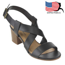 Contemporary Women's Criss Cross Vamp Strap Buckle Stacked Heel Sandal Black