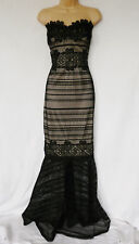 Lipsy black nude lace fishtail bandeau  Maxi Dress Prom Cocktail Ball gown party
