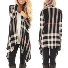 Womens Long Sleeve Open Front Plaid Soft Draped Rayon Waterfall Cardigan Outwear