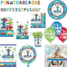 1st Birthday Boys All Aboard Party Pack for 16 - Plates Cups Napkins plus more