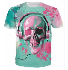 Women Men 3D T-Shirt Funny Skull Listening Print Tops Tee Casual Short Sleeve