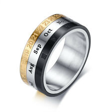 8mm 12 Monthes Roman Numerals Spinner Band Men's Stainless Steel Ring Size 7-12