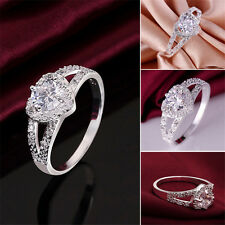 WOMEN Silver Plated Crystal rhinestone Love Heart Ring Bridal Wedding Party GIFT