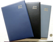 Diary 2018 A5 Management Week View Padded PVC Cover - Choose Black, Navy or Grey