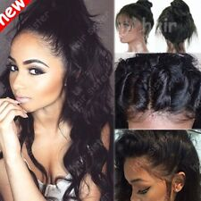 Pre Plucked Remy Peruvian Virgin Human Hair Lace Front Wig Full Lace Wigs Wave #