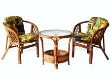 Bahama Rattan Wicker Set 2 Chairs w/Cushion & Round Coffee Table w/Glass Top