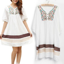Vtg Women Peasant Ethnic Embroidered Floral Boho Tunic Mexican Gypsy Mini Dress