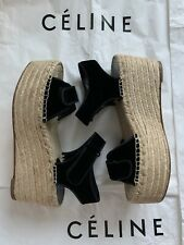 AuthNIB$660 CELINE Espadrilles Black Velvet Scratch Wedge Sandals 38 39 40 41