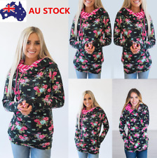 Women Long Sleeve Hoodie Sweatshirt Jumper Floral Hooded Coat Pullover Tops Coat