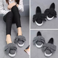 Women Lady Casual Bowkont Slip On Sneakers Comfy Walking Plimsolls Shoes Loafers
