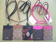 Coach Signature PVC Leather Lanyard ID Badge Holder NEW Pink 63274 56003
