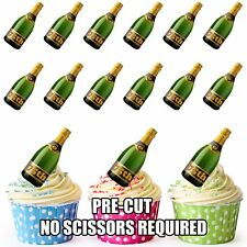 PRE-CUT 75th Birthday Champagne Bottle Edible Cup Cake Toppers Cake Decorations