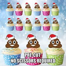 PRE-CUT Christmas Party Emoji Poop / Poo - Edible Cup Cake Toppers Decorations