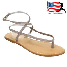 Chic Women T-Strap Thong Flat Buckle Closure Gladiator Ankle Sandals Taupe