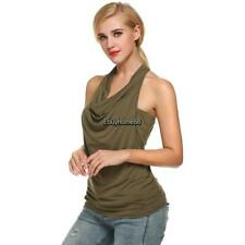 Zeagoo Women Cowl Neck Backless Solid Ruched Twinset Tank Tops EHE8