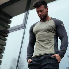 Autumn Men Long sleeved t shirt Cotton Gyms Fitness Workout  Casual Fashion tees