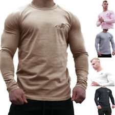Mens Long sleeved t shirt Cotton Fit Gyms Workout Crossfit Casual Fashion Tees