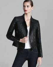 Womens Michael Kors Motorcycle Jacket Leather Black Quilted Moto Asymetrical