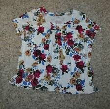NWT $36-Womens Plus Sagharbor White Floral Short Sleeve Shirt Top-size 1X