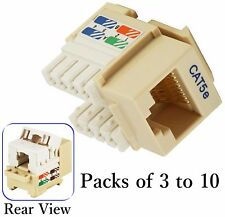 Brown Cat5e Punch Down Network Jack Female RJ45 Ethernet for Keystone Wall Plate