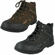 MENS LACE UP LEATHER HIKING OUTDOOR WALKING ANKLE BOOTS A3032