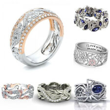 925 Silver Daisy Blue Sapphire&White Topaz Woman Wedding Band Ring Party Sz 6-10