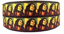 "Bob Marley 1"" Wide Repeat Ribbon Sold in Yard Lots - USA Seller"