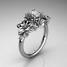 Flower Fashion Woman Charm 925 Silver Wedding Band Ring Party Size 6-10
