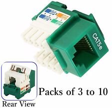 Green Cat5e Punch Down Network Jack Female RJ45 Ethernet for Keystone Wall Plate