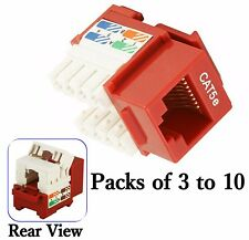 Red Cat 5e Punch Down Network Jack Female RJ45 Ethernet for Keystone Wall Plate