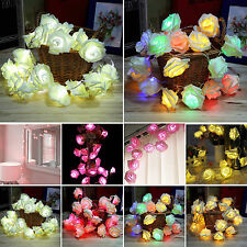 20 LED Battery Operated Rose Flowers String Fairy Light Wedding Party Home Decor