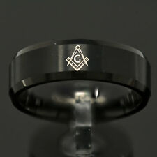 8mm Black Tungsten Freemason Masonic Bevel Edge Men's Wedding Band Ring