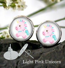 Unicorn Stud Earrings - Colorful Unicorn clip art earrings - Silver Plated Stud