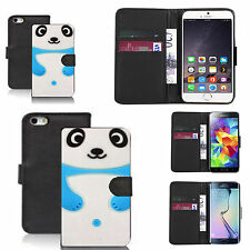 faux leather wallet case for many Mobile phones - blue panda