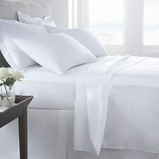 WHITE SOLID 1000 TC EGYPTIAN COTTON BED DUVET SET/FITTED SHEET/SHEET SET