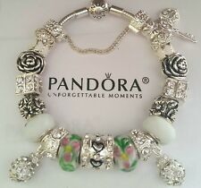 Authentic PANDORA Sterling Silver SMOOTH CLASP Bracelet With European Charms #S2