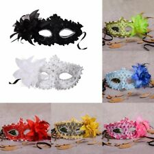 Halloween Rhinestone Feather Lace Mask Famale Masquerade Party Costume