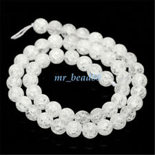 Glass White Round Crackle Crystal Charms Beads Jewelry Making 4/6/8/10/12/14mm