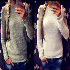 Ladies Cut Out Long Sleeve Jumper Pullover Tops  Casual Knitwear Sweater Fashion