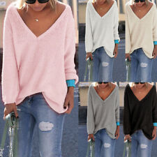 Womens Sweater Long Sleeve V Neck Knitted Ladies Casual Loose Jumper Tops New