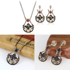 Women New Fashion Wedding Party Crystal Resin Necklace Earrings Jewelry Set 521