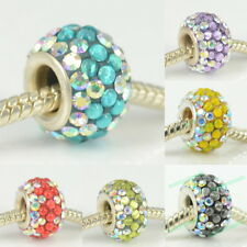 CRYSTAL & RESIN 925 STERLING SILVER CORE CHARMS BEAD FIT EUROPEAN BRACELET CHAIN