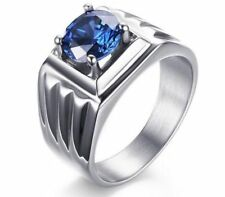 Size 7,8,9,10 Mens Blue Sapphire Cz Stainless Steel Fashion Wedding Ring Gift