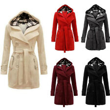 Womens Belted Button Coat New Hooded Military Jacket Ladies Outwear Plus Size