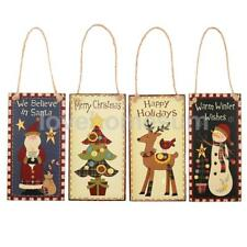 Merry Christmas Rectangle Wood Plaque Board Holiday Home Door Wall Hanging Sign
