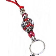 Necklace Lanyard, key, id badge holder Red Indonesian bead on Cord or Chain