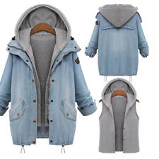 Womens Denim Coat Jacket Hoodie Waistcoat Oversized Ladies Loose Outerwear 2Pcs